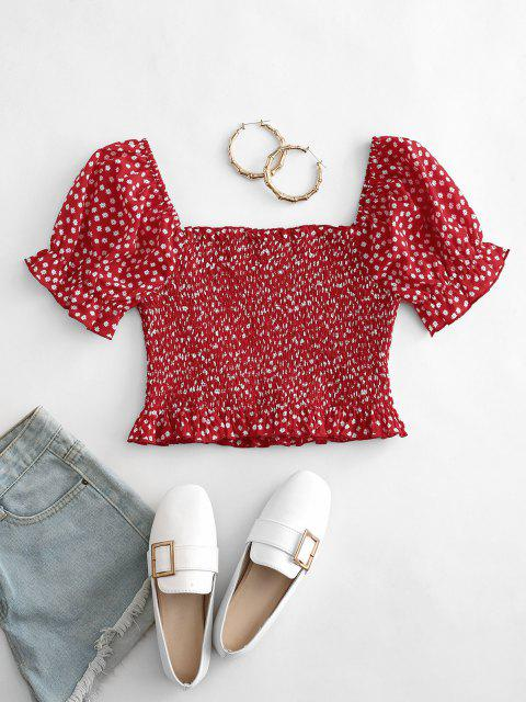 new ZAFUL Ditsy Floral Puff Sleeve Smocked Milkmaid Top - RED L Mobile