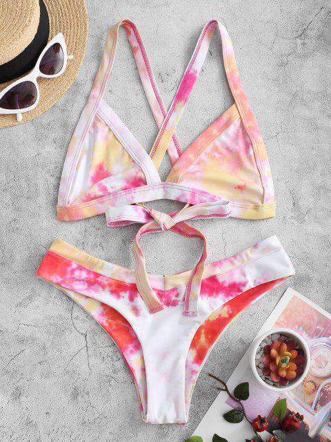 hot ZAFUL Tie Dye Criss Cross Bralette Bikini Swimwear - MULTI-B S Mobile