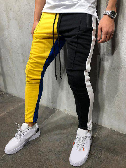 Pantalones Ajustados Slim Fit Diseño Bloque Color - Amarillo L Mobile