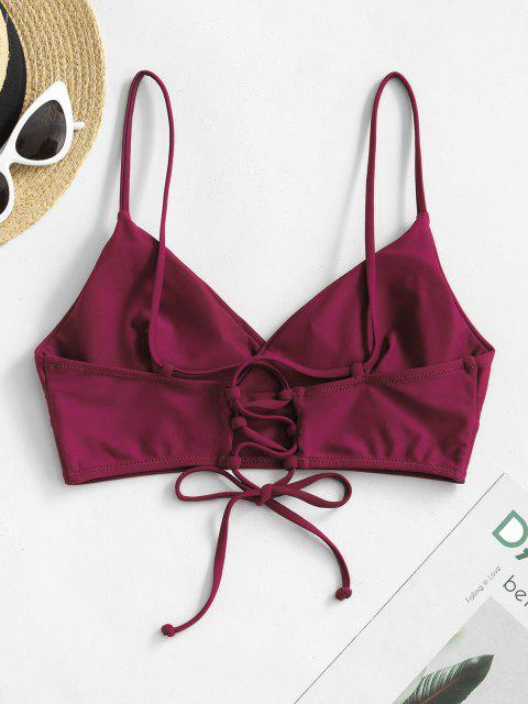 women's ZAFUL Lace-up Surplice Bikini Top - PLUM PIE S Mobile