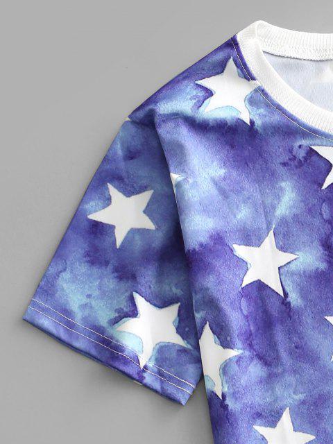 women's Tie Dye Star Print Tee - BLUE S Mobile