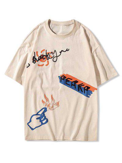 Cartoon Graphic Print Funny T-shirt - Apricot 3xl