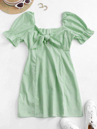 Gingham Tie Front Mini Dress - Green Peas S