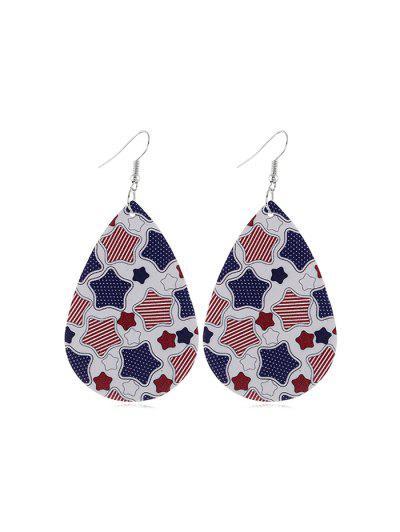 Flag Print Star Drop Earrings - Multi-c