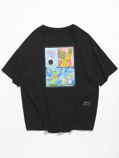 Shark Dinosaur Pineapple Graphic Basic T-shirt - Black 2xl
