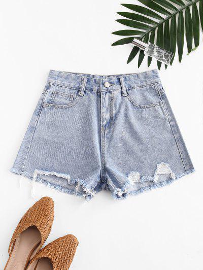 Metallic Thread Pockets Raw Hem Denim Shorts - Blue M