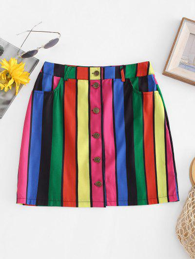 Rainbow Striped Button Fly Pocket Skirt - Multi-a M