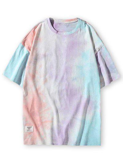 Tie Dye Print Applique Detail T-shirt - Multi-c 3xl