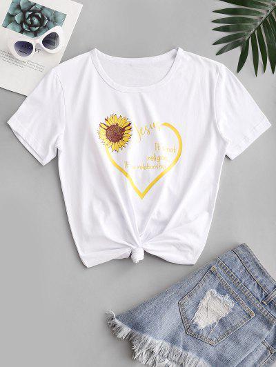 T-shirt De Manga Curta De Coração Com Impressão De Girassol - Branco Xl