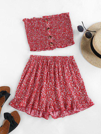 ZAFUL Ditsy Floral Smocked Bandeau Two Piece Set - Cherry Red S