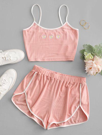 ZAFUL Flower Embroidered Ribbed Ringer Shorts Set - Pink S