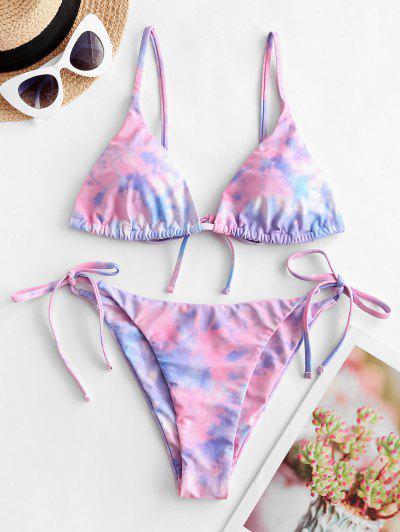 ZAFUL Krawattenfärbende String Bikini Badebekleidung - Schwein Rosa S