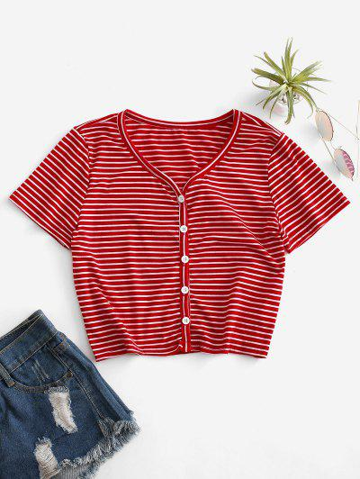 Cropped Button Up Striped Tee - Red S