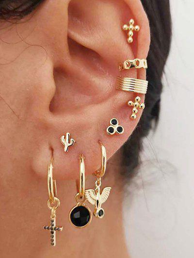 9Pcs Cross Cactus Earrings Set - Gold