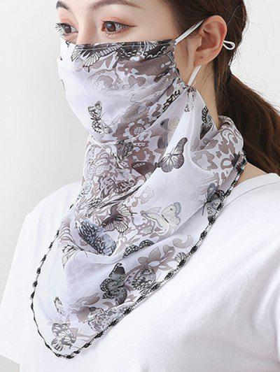 Outdoor Butterfly Printed Mask Scarf - White