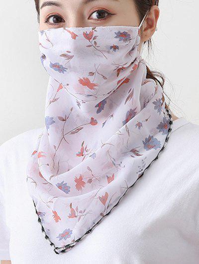 Ditsy Printed Riding Chiffon Mask Scarf - White