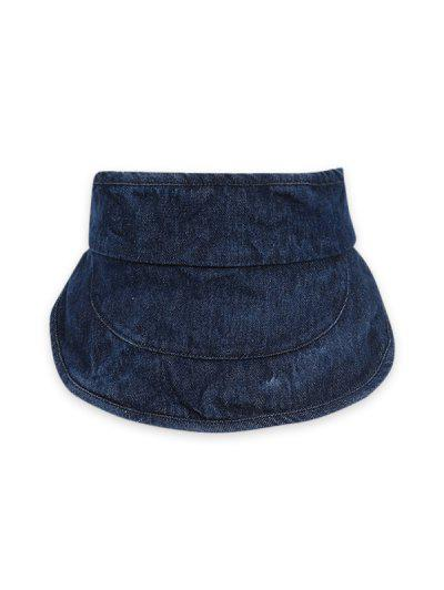 Wide Brim Denim Visor Cap - Cadetblue