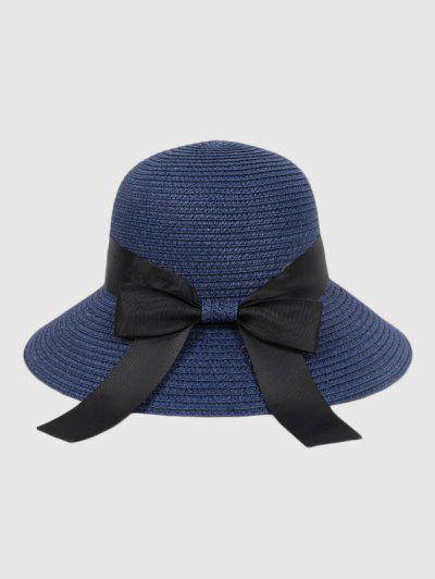 Bowknot Beach Straw Sun Hat - Cadetblue