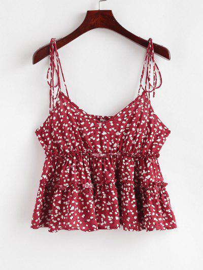 ZAFUL Ditsy Print Tie Strap Peplum Cami Top - Lava Red M