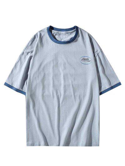 Letter Print Round Neck Ringer T-shirt - Dodger Blue 3xl
