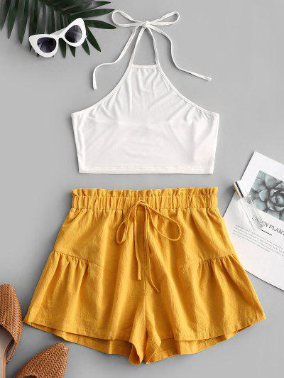 ZAFUL Halter Top And Paperbag Shorts Set - White S