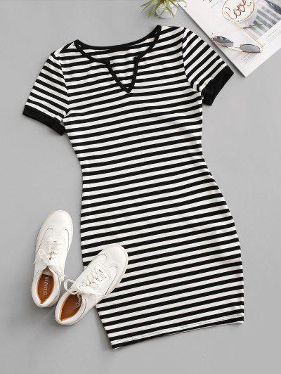 Striped V Notched T-shirt Dress - Black M