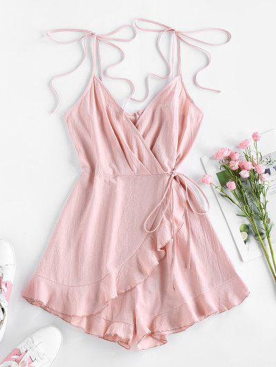 ZAFUL Ruffle Tie Shoulder Overlap Wide Leg Romper - Rose S