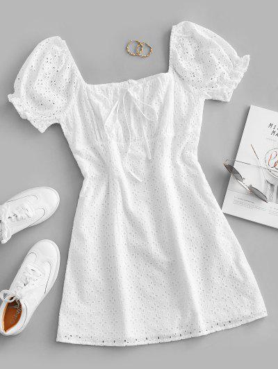 ZAFUL Eyelet Bowknot Puff Sleeve Mini Dress - White M