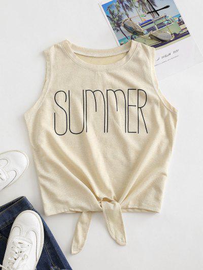 Summer Graphic Tie Hem Tank Top - Tan