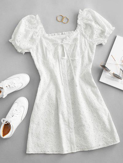 ZAFUL Broderie Anglaise Puff Sleeve Tie Milkmaid Dress - White S