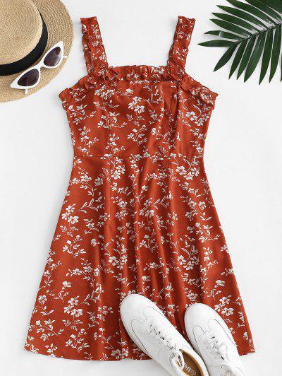 ZAFUL Ditsy Print Lettuce Trim Open Back Dress - Lava Red S