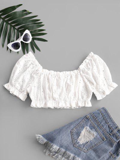 ZAFUL Ruffled Puff Sleeve Crop Blouse - White Xl