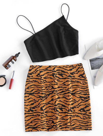 ZAFUL Bungee Strap Tiger Print Two Piece Dress - Brown M