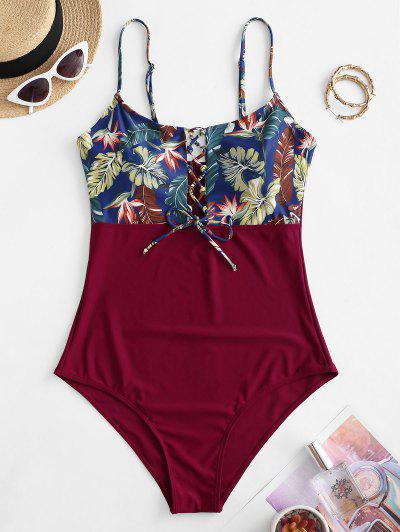 ZAFUL Plus Size Palm Leaf Lace-up One-piece Swimsuit - Red Wine 4xl