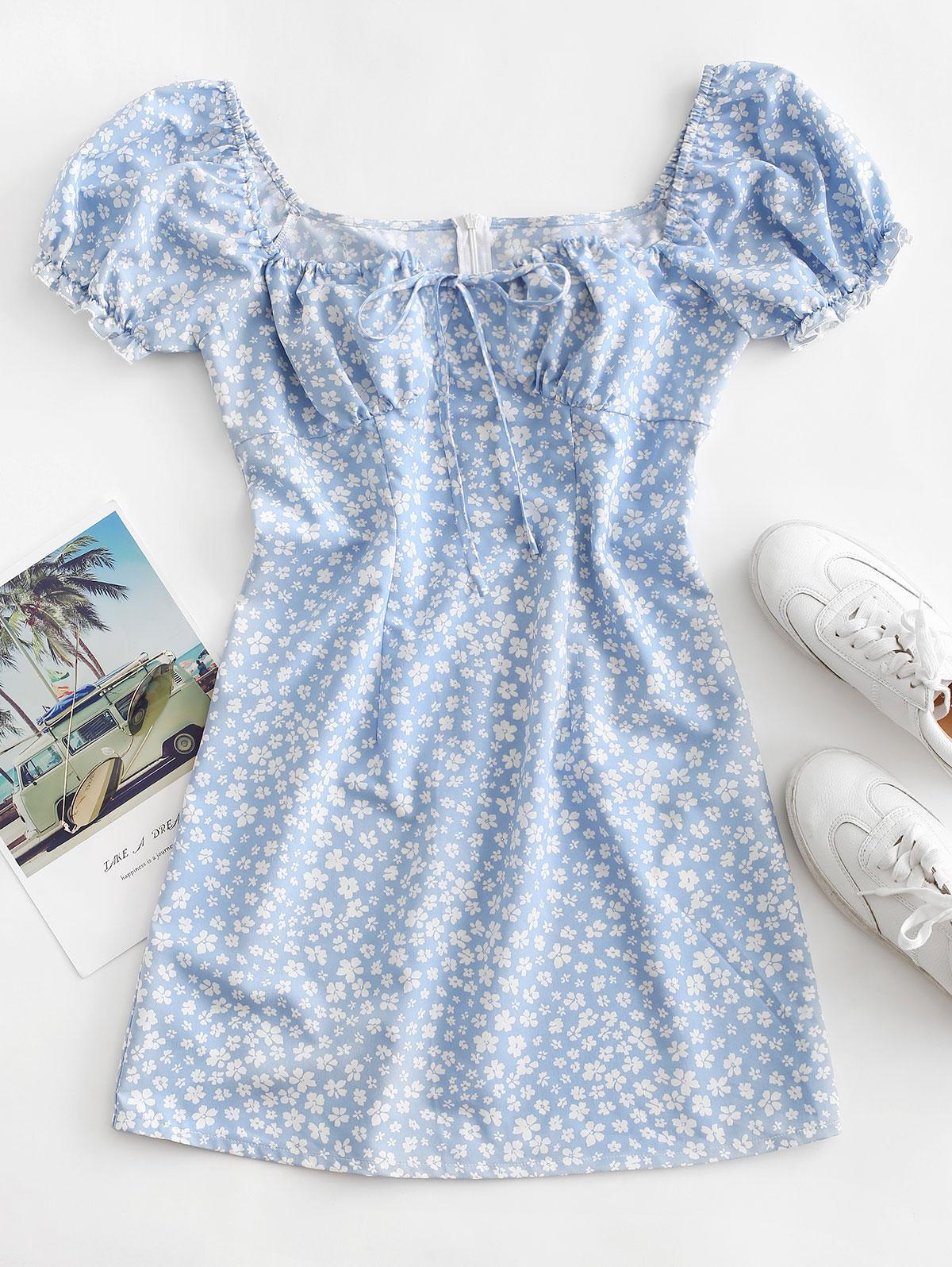ZAFUL Ditsy Print Puff Sleeve Milkmaid Dress