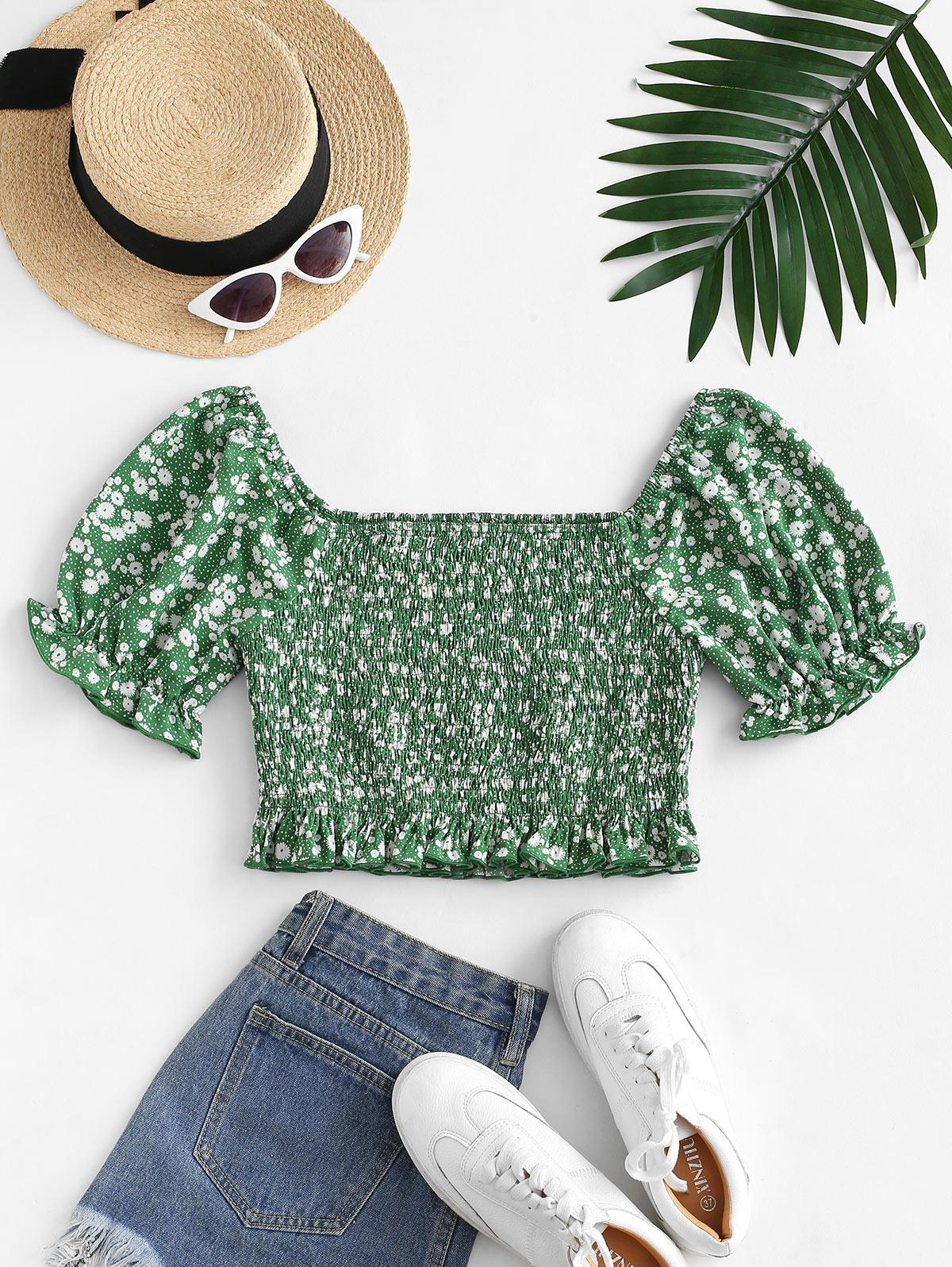 ZAFUL Puff Sleeve Ditsy Print Crop Blouse