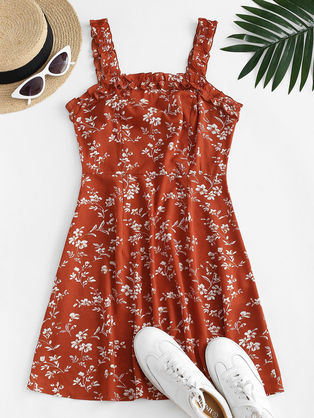 ZAFUL Ditsy Print Lettuce Trim Open Back Dress