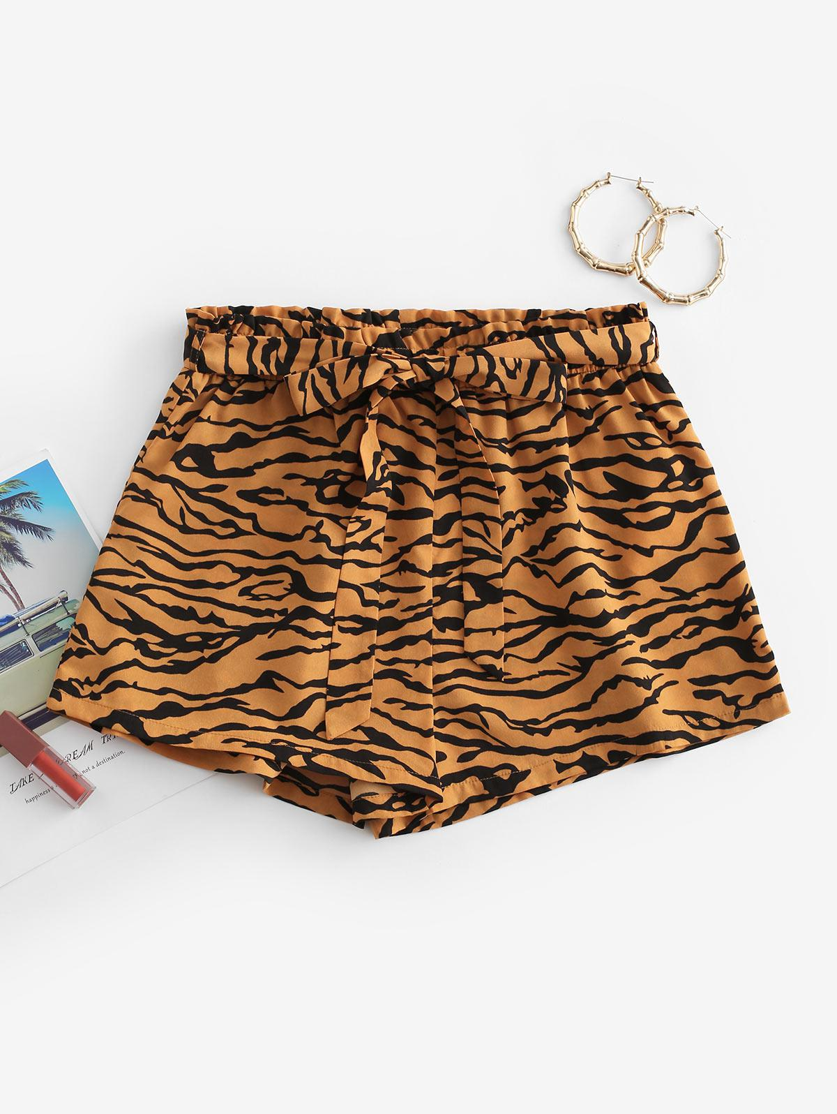 ZAFUL Tiger Animal Print Belted Paperbag Shorts