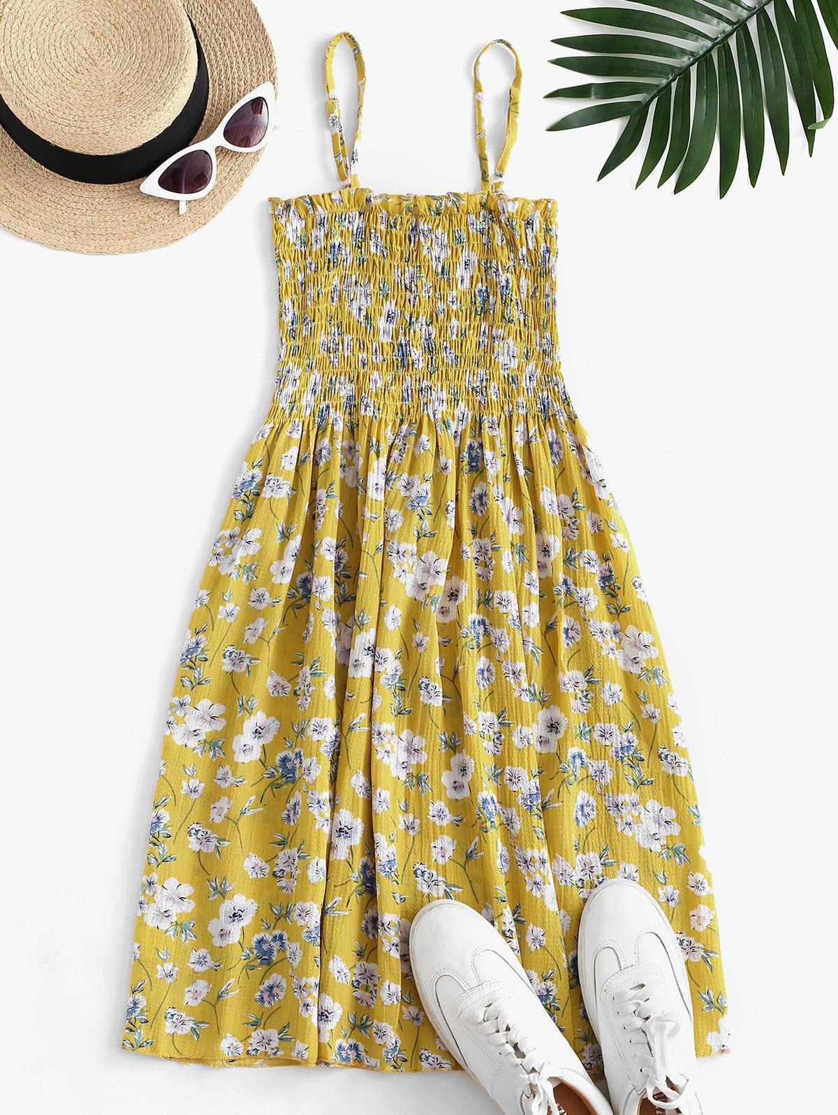 Floral Smocked Frilled Cami Summer Dress