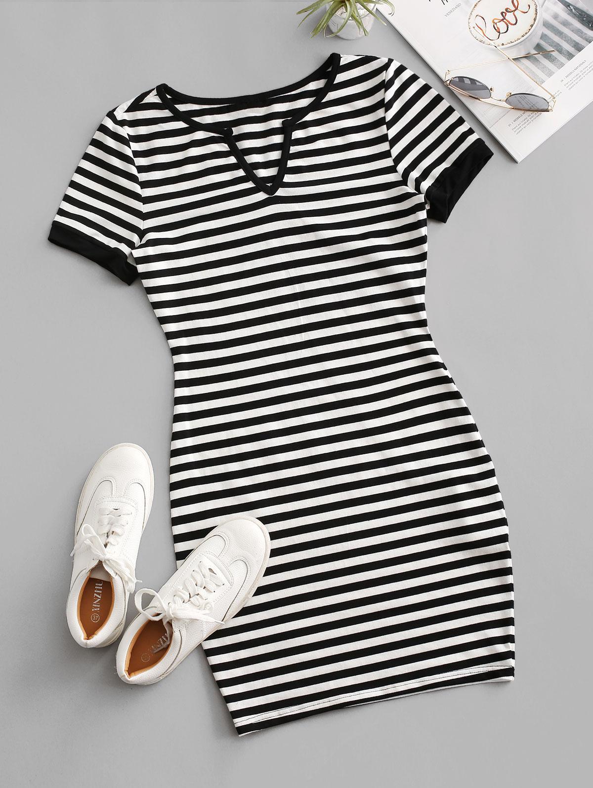Striped V Notched T-shirt Dress
