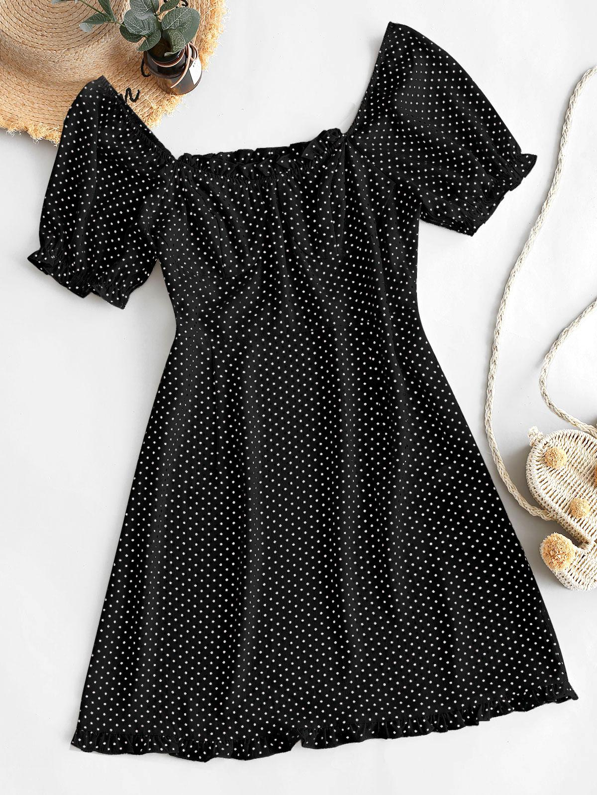 ZAFUL Polka Dot Ruffles Mini Dress
