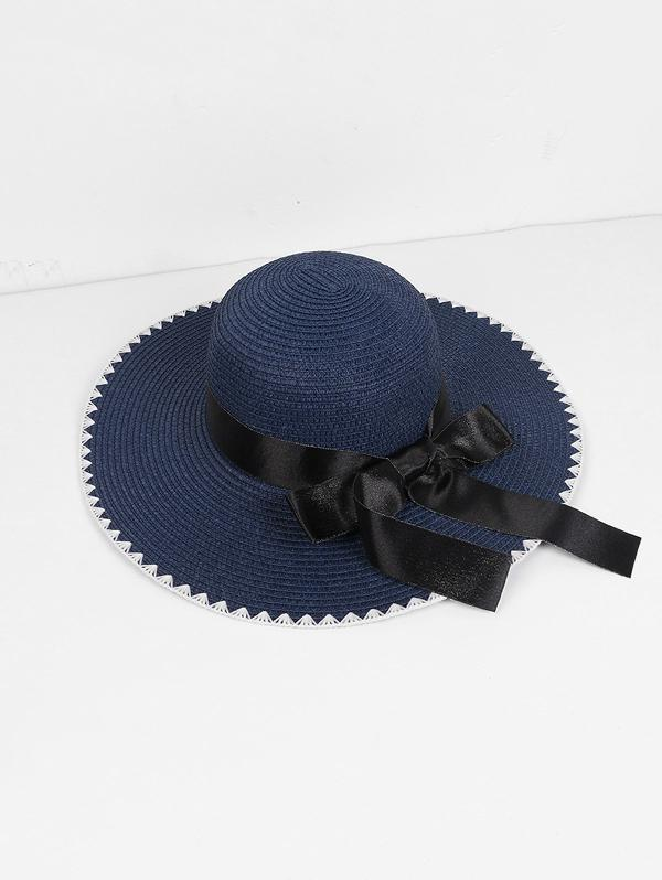 Beach Bowknot Zigzag Straw Hat