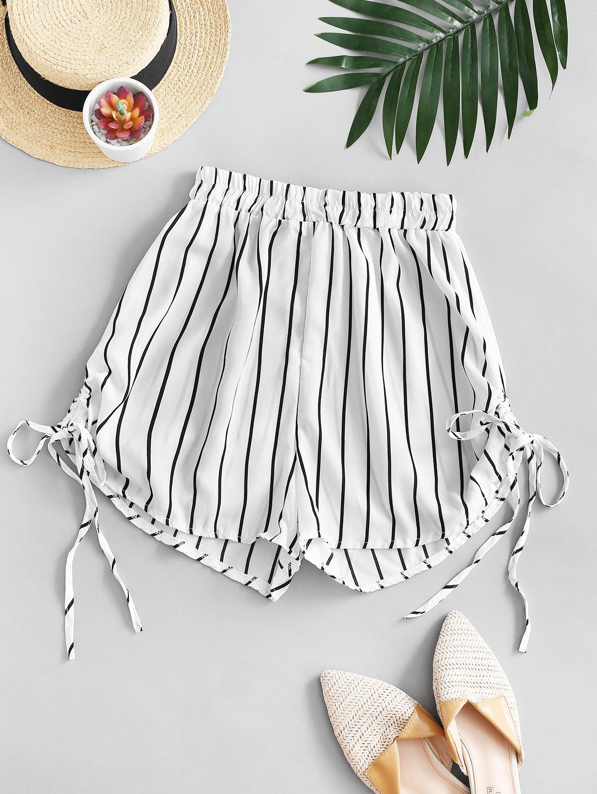 Striped Cinched Tie Casual Shorts thumbnail