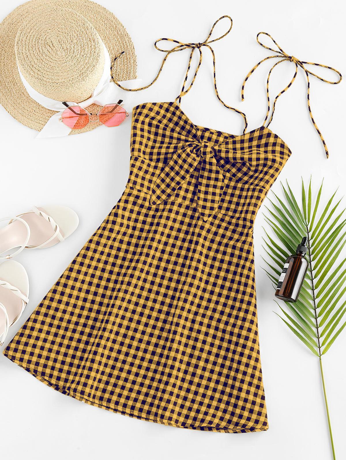 ZAFUL Plaid Tied Cami Mini Dress thumbnail