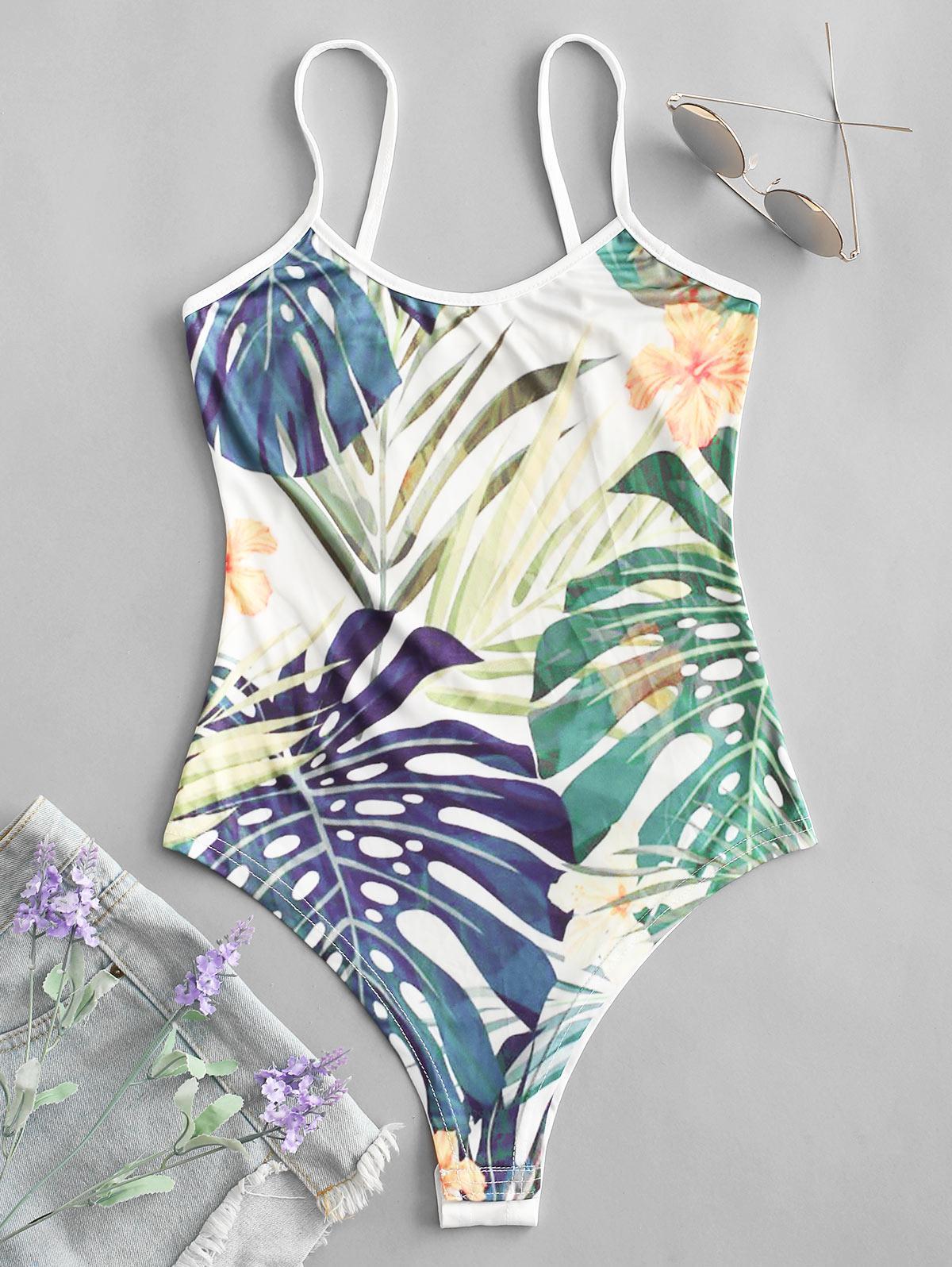 Snap Button Palm Leaves Floral Cami Bodysuit