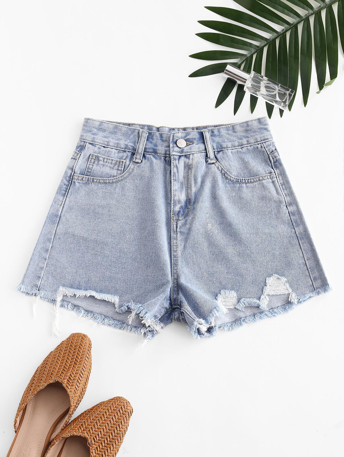 Metallic Thread Pockets Raw Hem Denim Shorts