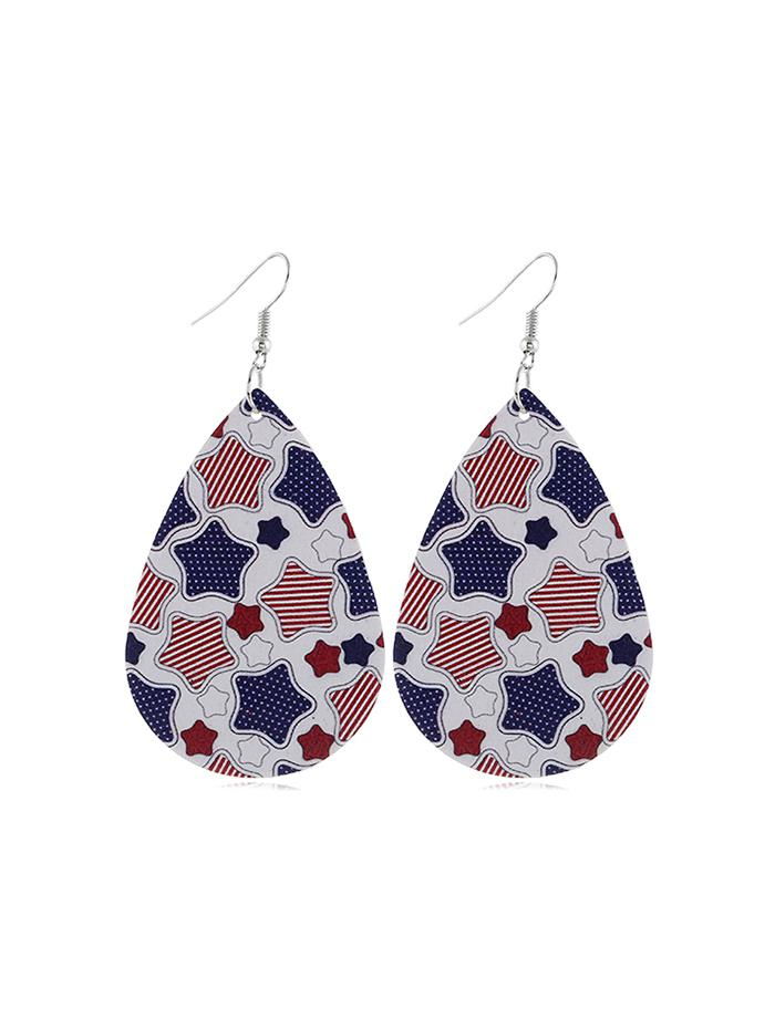 Flag Print Star Drop Earrings