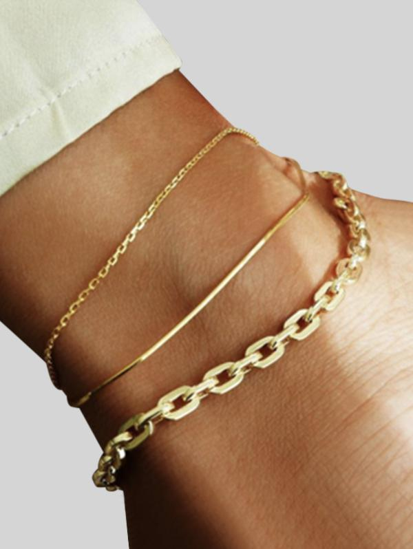 3Pcs Chain Metal Anklet Set