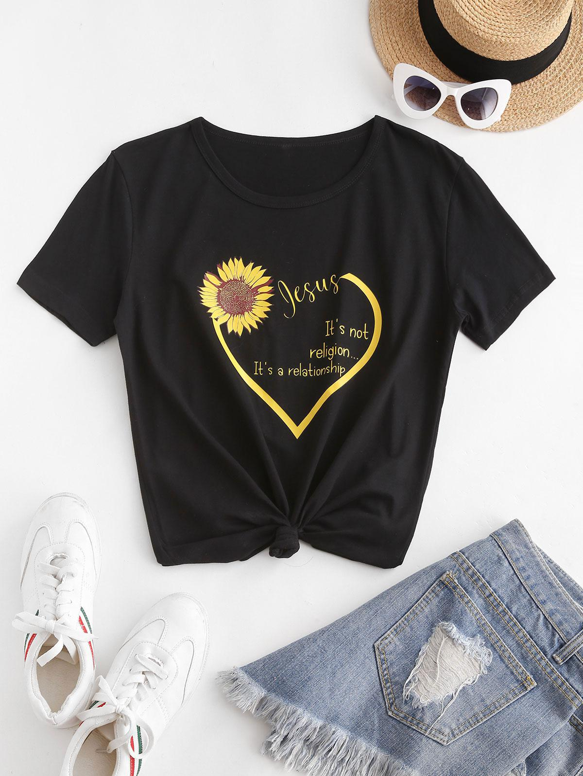 Sunflower Heart Slogan Print Short Sleeve T-shirt