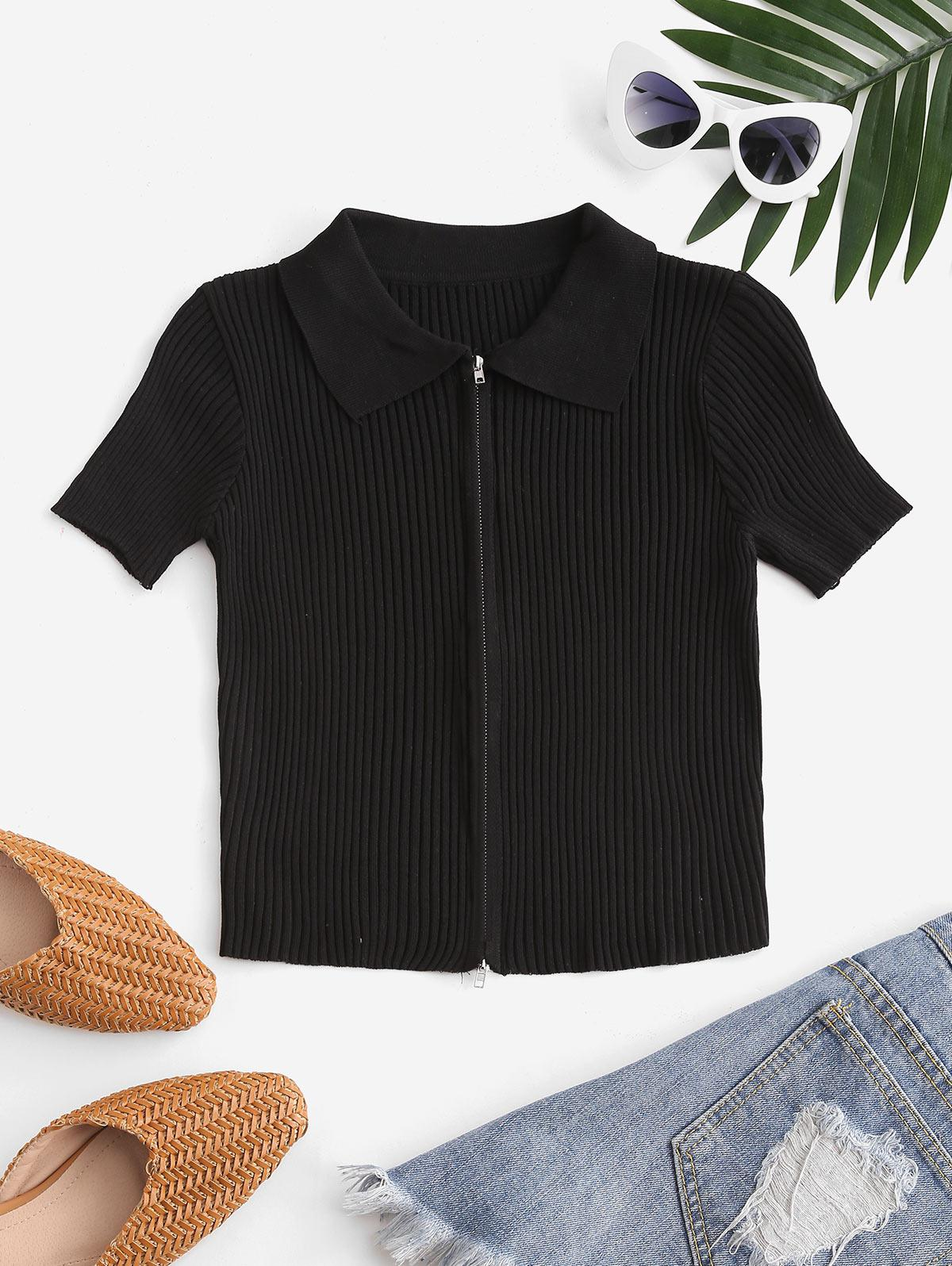 Double Way Zip Ribbed Short Sleeve T-shirt
